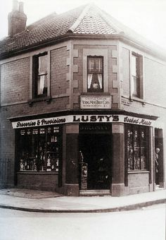 Lusty's shop, corner of Hinton Road and Greenbank Road, Bristol (date unknown) This is now the Spar store. Candid Photography, Street Photography, Old Pictures, Old Photos, Bristol Fashion, Tower Block, High Street Shops, Bristol City, Victorian Terrace