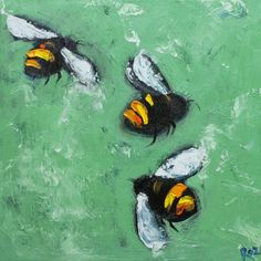 Bee 155 12x12 inch original oil painting by RozArt on Etsy