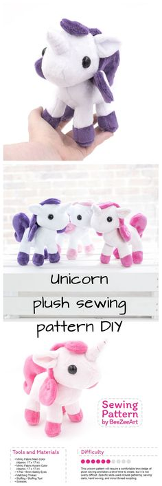Unicorn Plush Sewing Pattern, Stuffed Animal Pattern, Plushie Sewing Pattern, PDF Digital Download, printable pattern, Unicorn gift idea, nursery decor, DIY ideas, Craft ideas #ad #unicorn #plush #stuffedanimal #craft #diy #eenhoorn #naaipatroon #nursery