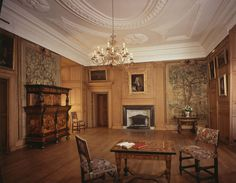 Much of the decoration of this room dates from the mid ninteenth century, when the historical apartments were opened to visitors by the Commissioners of Works.  They acquired additional furniture and tapestries to supplement those already in use in the room by the Duke of Hamilton, who had allowed visitors to tour the Darnley Rooms.  Pieces purchased in this way include the Mortlake series of tapestries Playing Boys The Royal Collection at Palace of Holyroodhouse