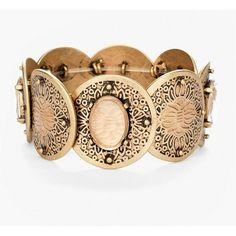 Chico's Women's Marcela Stretch Bracelet (€29) ❤ liked on Polyvore featuring jewelry, bracelets, brass, antique bangles, chicos jewelry, plastic jewelry, plastic bangles and stretch jewelry