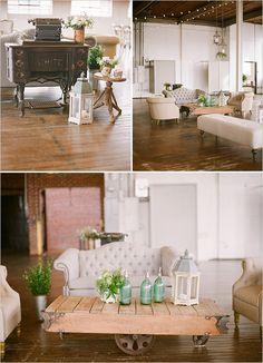 vintage industrial lounge   rustic wedding ideas   cocktail hour lounge   warehouse style wedding   #weddingchicks