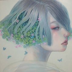 Miho Hirano 平野実穂, watercolor {fantasy art beautiful female head profile woman face portrait painting} mihohirano.strikingly.com
