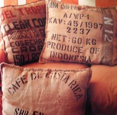 Simple Throw Pillows from Potato Sacks or Coffee Bean Sacks