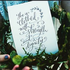 Honored to have this piece be an inspiration piece in an Arkansas  photo shoot by @unveiledradiance.  And I am thankful for all the ladies God has put in my life that exhibit strength and dignity. #paperglazecalligraphy #bellascriptura #handlettering #calligraphy #pointedpen #curiouscalligrapher #proverbs #proverbs31woman #headwreath #arkansas #bridalpictures #bible