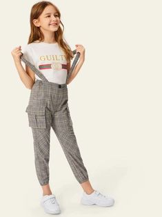 To find out about the Girls Flap Pocket Side Plaid Pants With Strap at SHEIN, part of our latest Girls Pants & Leggings ready to shop online today! Girls Fashion Clothes, Teenage Girl Outfits, Cute Girl Outfits, Kids Outfits Girls, Teen Fashion Outfits, Tween Fashion, Teenager Outfits, Cute Casual Outfits, Fall Fashion
