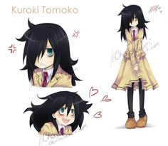 Tomoko Kuroki by ChocoGumi on DeviantArt Kawaii Girl, Kawaii Anime, Hinata, Kuroki Tomoko, Autism Girls, Virtual Boy, Simple Anime, Cute Alien, Anime Military