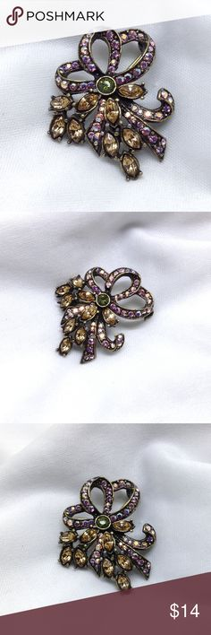 "🆕Vintage Multicolor Rhinestone Bow Pin A 1 1/2"" x 1 1/4"" antique gold finish vintage looping bow pin with Aurora Borealis rhinestones, and a spray of taupe navette rhinestones! In excellent vintage condition! A beautiful and unique pin that any collector would love! Vintage Jewelry Brooches"