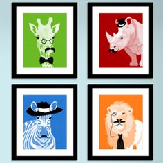Nursery art prints, childrens art, jungle safari animals,set of 4, funny kids art, silly animals with mustaches rhino giraffe zebra lion. $45.00, via Etsy.