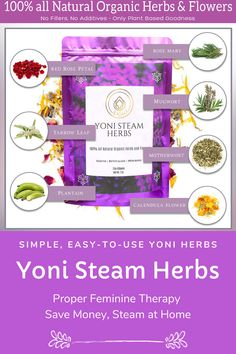 🌸 100% Natural Steam Herbs Blend – Formulated with flowers, rose petals, rosemary, mugwort, yarrow leaf, motherwort, plantain and red raspberry, this natural organic bath steam blend helps clean and rejuvenate vaginal areas for balanced comfort. we create natural herbal infusions and skin-safe steam vapors that hydrate, soothe, and moisturize your vaginal area and the lining of your uterus for better pH balance with no artificial chemicals. Yoni Steam Herbs, V Steam, Bubble Recipe, Red Rose Petals, Healthy Herbs, Red Raspberry, Natural Herbs, Soap Recipes, Medicinal Plants