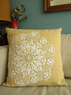 RESERVED Yellow Tweed Doily Pillow by brandeye on Etsy