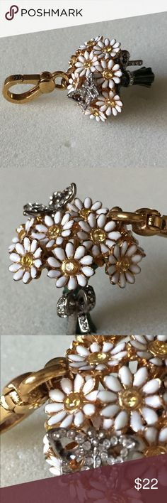 """Juicy Couture Daisy Bouquet Charm Sweet daisy charm is wrapped with a crystal-studded bow.  Approx. drop: 1 1/2"""".  Approx. width: 1"""". MISSING 3 STONES ON BUTTERFLY. PLEASE SEE PICTURES. **NO BOX** Juicy Couture Jewelry Bracelets"""
