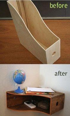 """good idea, corner desk, raise lamp, trays in """"shelf"""" for paper, pens"""
