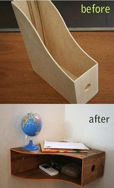 "good idea, corner desk, raise lamp, trays in ""shelf"" for paper, pens"