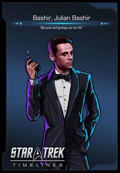 Julian Bashier (Alexander Siddig) as a holodeck spy from Deep Space Nine (DS9)