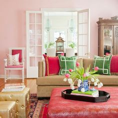 The Entertaining House: Pink & Green in the Home... Classic and Preppy, Modern and Edgy