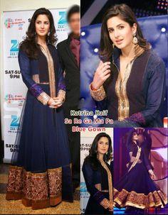 Buy Bollywood Katrina Kaif Blue Gown US$ 115.22 . Shop online - bollywood-ankle-length-anarkali.blogspot.co.uk/2014/04/buy-bollywood-katrina-kaif-blue-gown-us.html