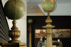 Masonic globes on pedestals