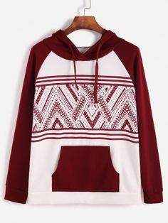 Color Block Hooded Tribal Print Raglan Sleeve Sweatshirt