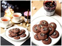 Sablés au cacao et confiture Myrtille-Cassis Bonne Maman