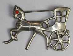 Horse and Cart with Movable Wheel Mexican Sterling Brooch    From  Splendors Of The Past