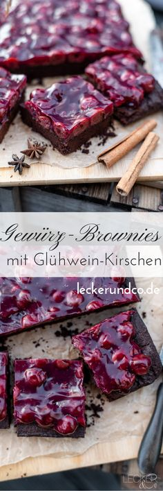 Spice brownies with mulled wine cherries Berry Smoothie Recipe, Easy Smoothie Recipes, Easy Smoothies, Coconut Milk Smoothie, Homemade Frappuccino, Coconut Recipes, Food Blogs, Cupcake Recipes, Yummy Drinks