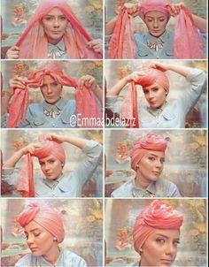 torban tutorial, Tutorial hijab pesta simple for 2015 www. Mode Turban, Turban Hijab, Hair Wrap Scarf, Hair Scarf Styles, Tutorial Hijab Pesta, Turban Tutorial, Simple Hijab, Dress Brokat, African Head Wraps