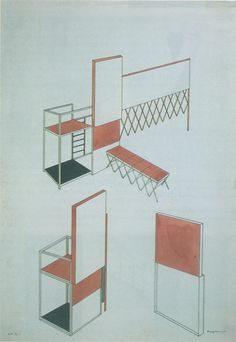 Chair for the interior of the workers club designed by Rodchenko, 1925