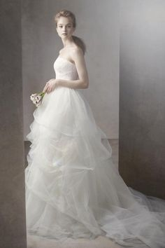 Ball Gown with Corded Lace Bodice and Tulle Skirt by Vera Wang.