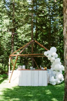 Balloon installation at Casey and Pat's wedding on the shores of Tahoe. Photo: @courtneyaaronphoto Balloon Installation, Lake Tahoe Weddings, Wedding Balloons, Engagement Shoots, Floral Arrangements, Whimsical, Parties, Holidays, Inspiration