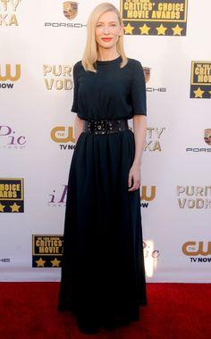 Cate Blanchett in Lanvin PF14 (Look 7) dress and belt, Roger Vivier bag - Critics' Choice Movie Awards, Santa Monica - 1.16.14