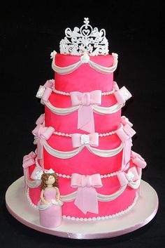princess cake for allison's tenth: no bows, instead hot pink flowers; light pink icing.  chocolate cake