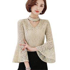 Autumn Women Blouse Floral Lace Crochet Shirts Fashion Plus Size Blouses V-Neck Long Flare Sleeve Casual Tops Hollow Out Shirt #Affiliate