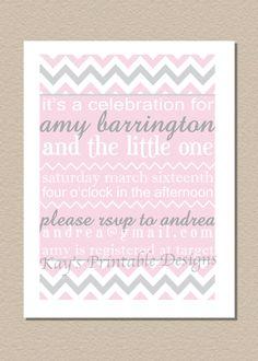 PRINTABLE Chevron Baby Shower Invitation - Party Invite - FREE Customization - Chevron Collection. $10.00, via Etsy.
