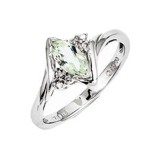 925 Sterling Silver Marquise Cut Green Quartz and Diamond Ring, Women's