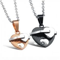 Romantic Heart Shape Titanium Steel Lover's Necklace(Price For A Pair)