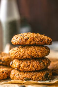 Healthy Sweet Potato Breakfast Cookies made with desiccated coconut a variety of seeds mashed sweet potato and sweetened with coconut sugar Paleo Vegan Sweet Potato Cookies, Paleo Sweet Potato, Sweet Potato Breakfast, Breakfast Potatoes, Sweet Potato Recipes, Paleo Dessert, Paleo Breakfast Cookies, Paleo Cookies, Vegan Breakfast