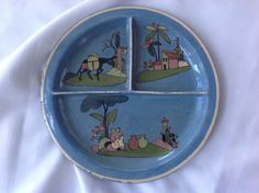Vintage Tlaquepaque Mexico Mexican Pottery Plate Divided Folk Art
