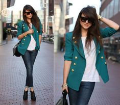 I like the blazer with fitted jeans look