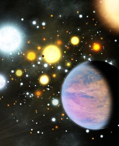 Geburt im Gedränge: Gegenseitige Nähe von Sternen in Haufen beeinträchtigt nicht die Häufigkeit von Planeten.  Abb.: Auch in dichteren Sternhaufen entstehen Planeten mit den selben Häufigkeiten und Eigenschaften, wie anderswo. (Bild: M. Bachofner / CfA) http://www.pro-physik.de/details/news/4976831/Geburt_im_Gedraenge.html