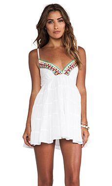 Raga Embroidered V Neck Tank Dress in White