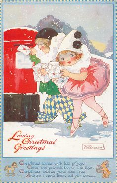 LOVING CHRISTMAS GREETINGS  children as Pierrot & Pierette post letters - 1923