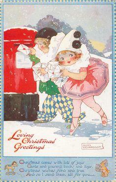 LOVING CHRISTMAS GREETINGS  children as Pierrot & Pierette post letters - 1923