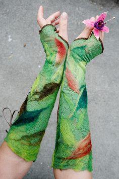 nuno-felted gloves by FeuerUndWasser shop, via Flickr