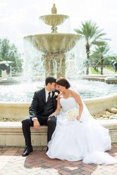 Rosen shingle creek wedding bride and groom fountain