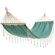 Dial in to ultimate relaxation mode with this canvas Aqua Hammock with Fringe that's an essential addition to any backyard or deck.  Features wooden stretches with ropes and two eyes for hang…