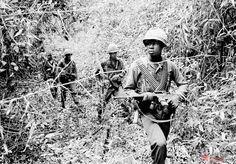 Lính Mỹ đang lùng sục nơi ẩn náu của quân Giải phóng tại một con mương lầy lội trong rừng rậm Trị An, cách Sài Gòn khoảng 40 dặm về phía Đông Bắc, ngày 6/6/1965.
