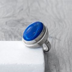 Natural Blue Lapis Lazuli Ring Sterling Silver by SunSanJewelry