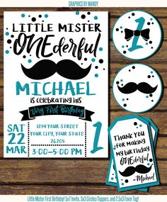 """Little Mister """"ONEderful"""" First Birthday design! Mustach and Bowtie! Matching toppers and favor tag included! Digital, PDF or JPEG image. $12.50"""