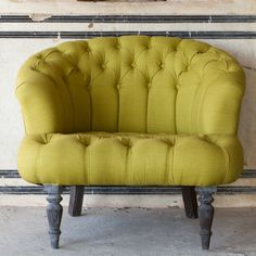 (via Ruby Star Traders - Linen Buttonback Round Chair - Chartreuse Funky Chairs, Cool Chairs, Modern Chairs, Space Furniture, Home Furniture, Furniture Ideas, E Room, Patterned Chair, Round Chair